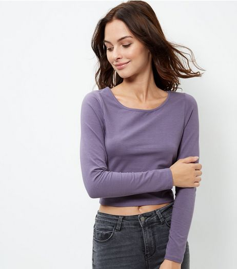 Dark Purple Scoop Neck Long Sleeve Crop Top | New Look