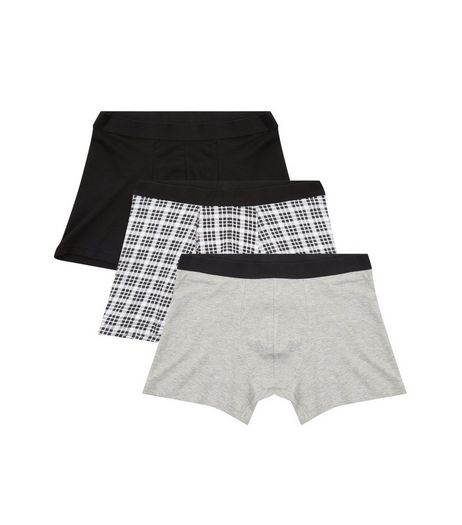 3 Pack Black Check Print Boxer Briefs | New Look