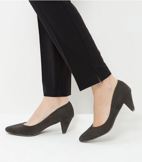 Black Suedette Pointed Mid Heels  | New Look