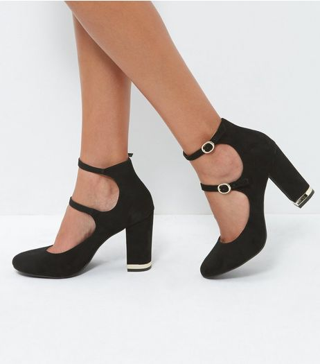 Black Suedette Metal Trim Block Heel Court Shoes | New Look