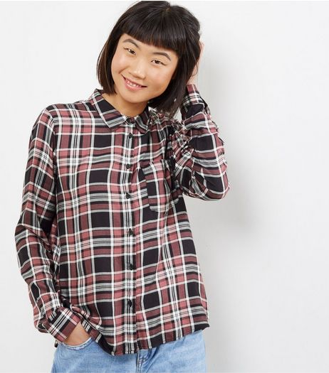 JDY Brown Check Cropped Shirt  | New Look