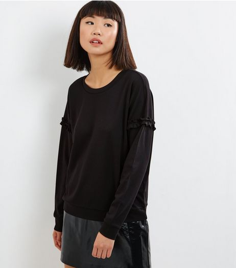 JDY Black Frill Trim Long Sleeve Top  | New Look
