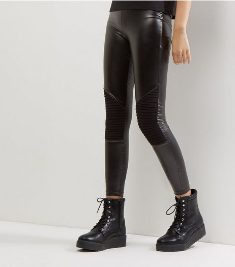 JDY Black Leather-Look Knee Pad Biker Leggings  | New Look