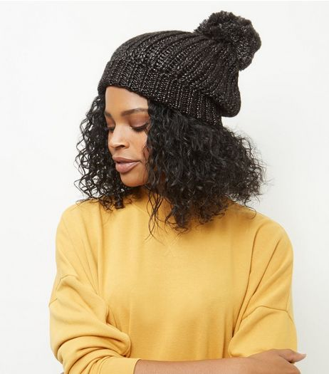 Black Metallic Pom Pom Bobble Hat | New Look