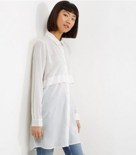 JDY Cream Fold Over Long Sleeve Longline Shirt  | New Look
