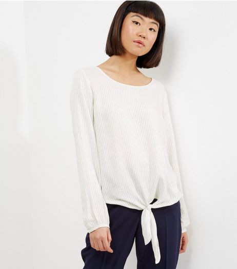 JDY Cream Long Sleeve Tie Front Blouse  | New Look