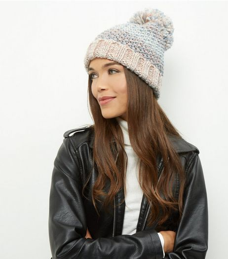 Mink Colour Block Bobble Hat  | New Look