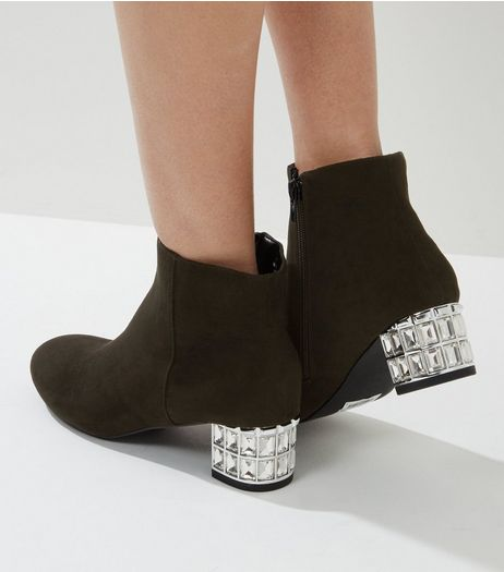 Black Suedette Jewelled Heeled Boots | New Look