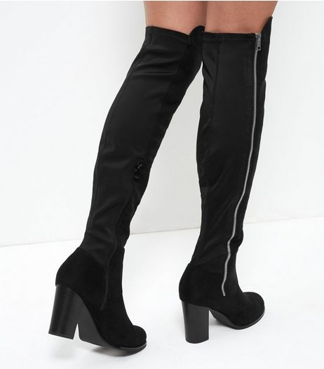 Black Suedette Over The Knee Block Heel Boots | New Look