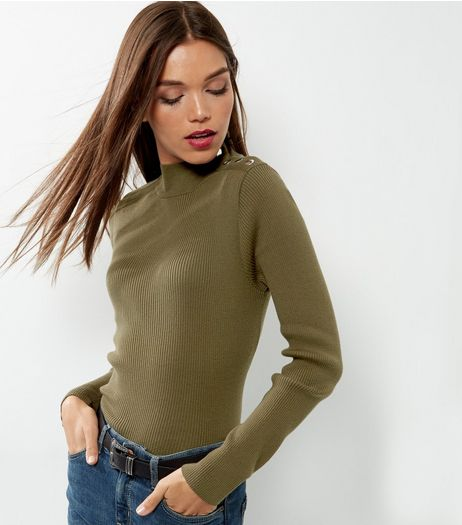Olive Green Ribbed Button Neck Jumper  | New Look