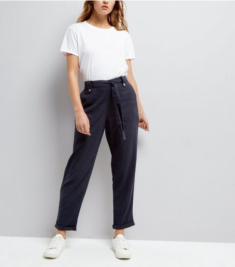Navy Linen Slim Leg Trousers | New Look