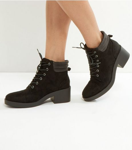 Black Suedette Lace Up Boots | New Look
