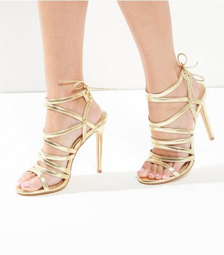 Gold Leather-Look Multi Strap Tie Back Heels  | New Look