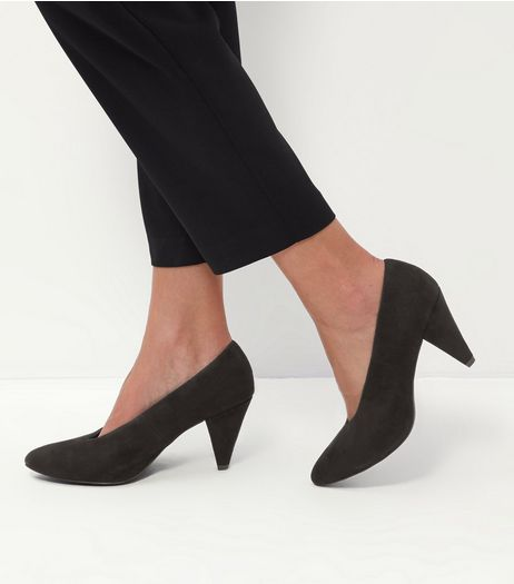 Black Suedette V Throat Pointed Heels  | New Look