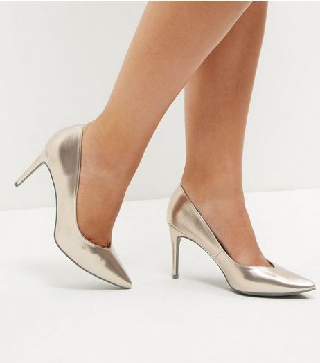 Bronze Metallic Pointed Court Shoes | New Look