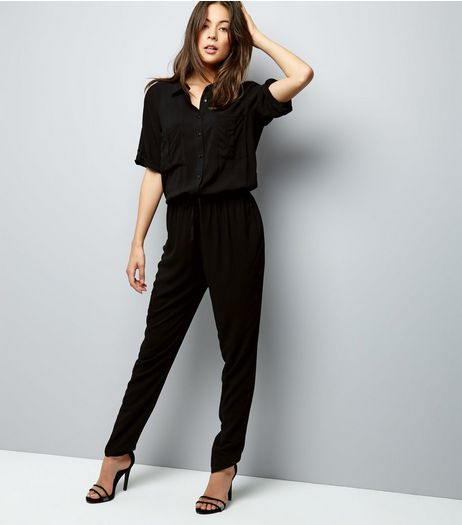 JDY Black 1/2 Sleeve Shirt Jumpsuit  | New Look
