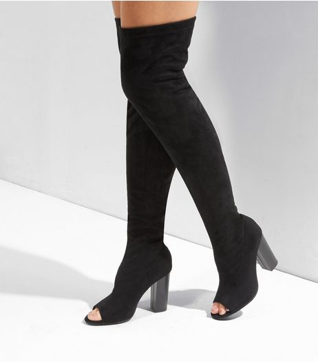 Black Suedette Peep Toe Over The Knee Boots | New Look