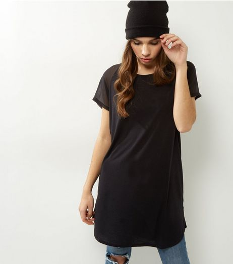 JDY Black Mesh Short Sleeve Top  | New Look