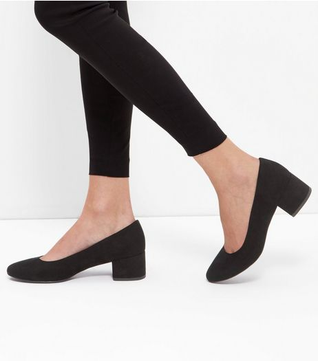 Black Suedette Mid Block Heels  | New Look