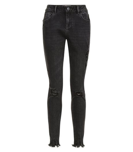 Teens Black Ripped Fray Hem Skinny Jeans | New Look
