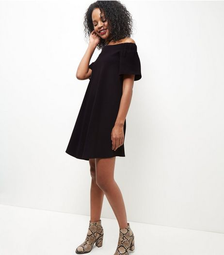 Black Scuba Bardot Neck Dress | New Look