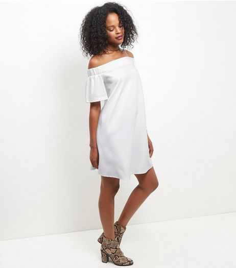 Cream Scuba Bardot Neck Dress | New Look
