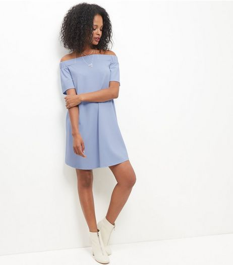 Pale Blue Scuba Bardot Neck Dress | New Look