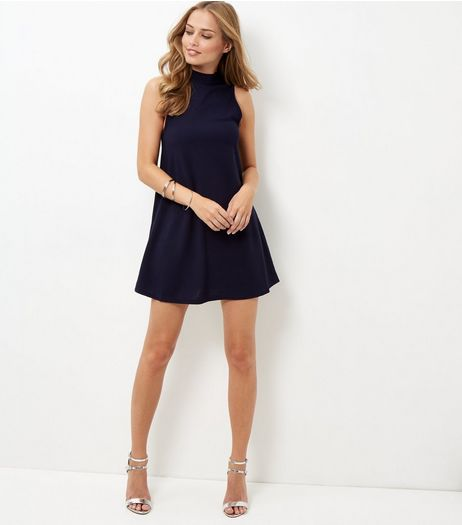 AX Paris Navy Funnel Neck Swing Dress | New Look