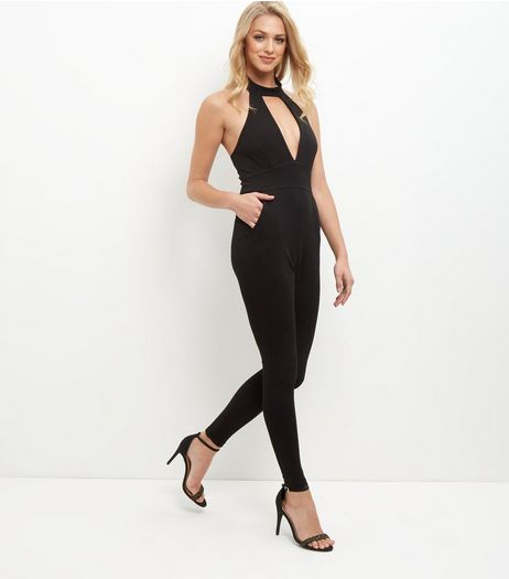 Cameo Rose Black Choker Neck Jumpsuit | New Look