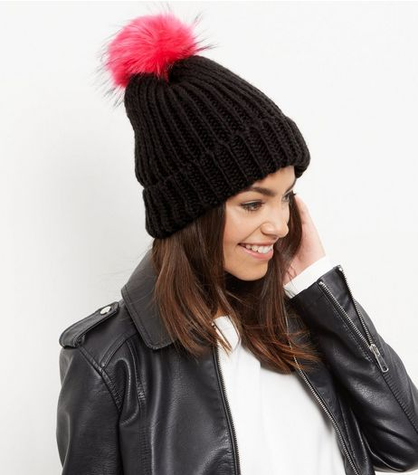 Black Faux Fur Pom Pom Hat  | New Look