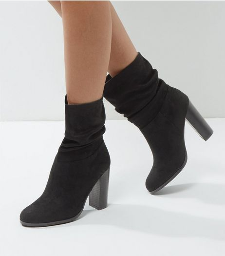 Black Suedette Ruched Block Heel Boots | New Look