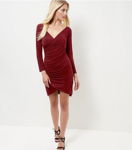Blue Vanilla Burgundy Wrap Bardot Neck Dress | New Look