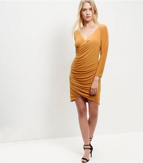 Blue Vanilla Yellow Wrap Bardot Neck Dress | New Look