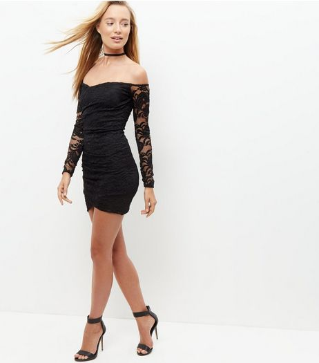 Blue Vanilla Black Lace Bardot Neck Dress | New Look