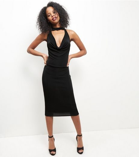 Blue Vanilla Black Choker Bodycon Midi Dress | New Look