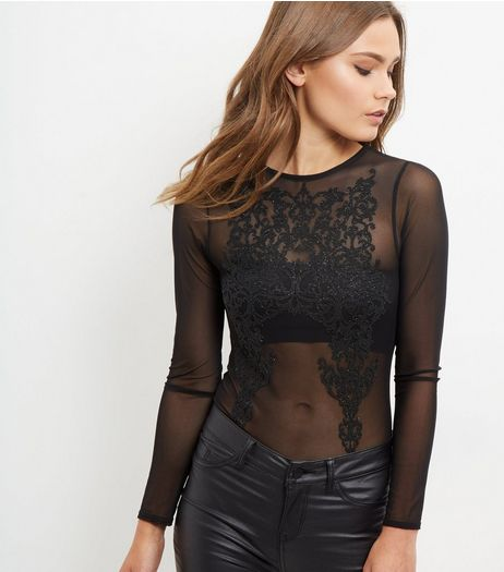 Blue Vanilla Black Embroidered Sheer Bodysuit | New Look