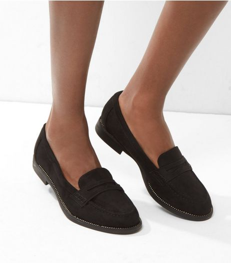 Black Suedette Metal Stud Trim Loafers | New Look
