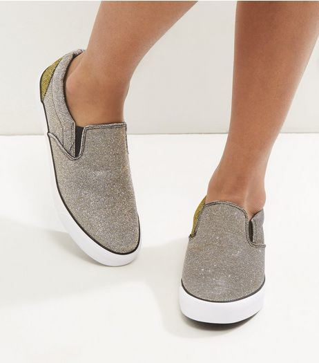 Gold Glitter Contrast Sole Slip On Plimsolls | New Look
