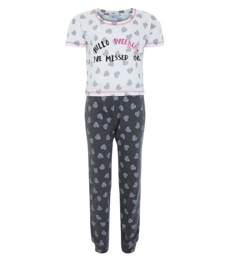 Teens Grey Hello Weekend Heart Print Pyjama Set | New Look