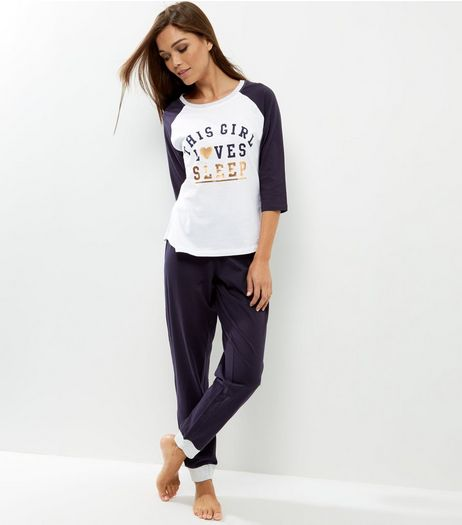 Navy This Girl Love Sleep Foil Print Pyjama Set | New Look