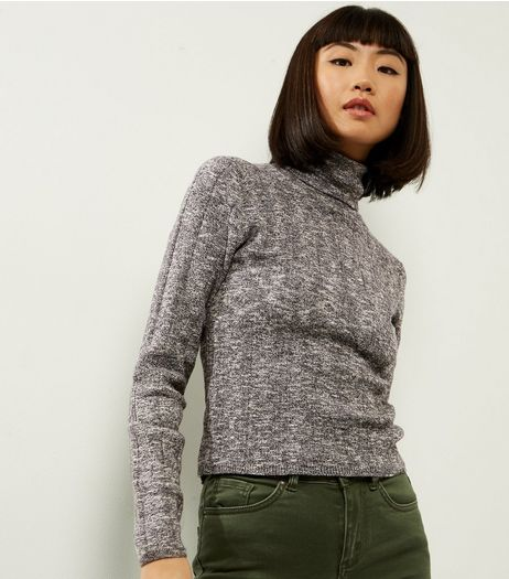 Dark Grey Wide Ribbed Turtle Neck Jumper | New Look