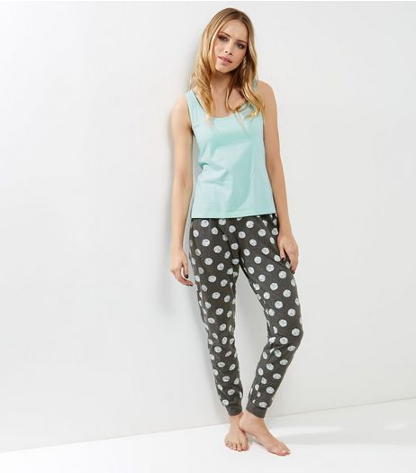 Dark Grey Spot Print Pyjama Set | New Look