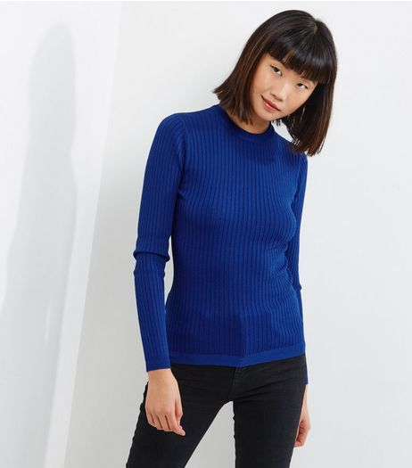 Blue Ribbed Crew Neck Long Sleeve Jumper  | New Look