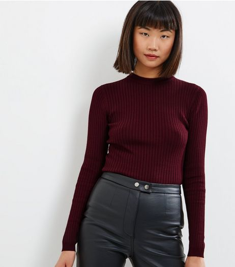 Burgundy Ribbed Crew Neck Long Sleeve Jumper  | New Look