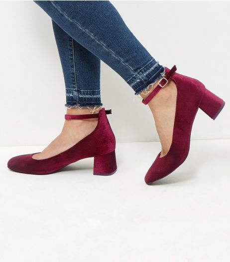 Wide Fit Dark Red Velvet Block Heels | New Look
