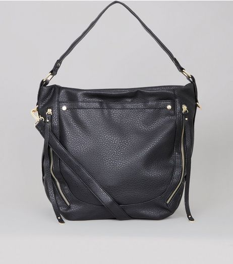 Black Double Zip Side Shoulder Bag  | New Look