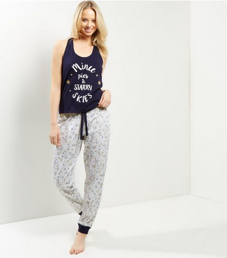 Navy Mince Pies And Starry Skies Print Pyjama Set | New Look