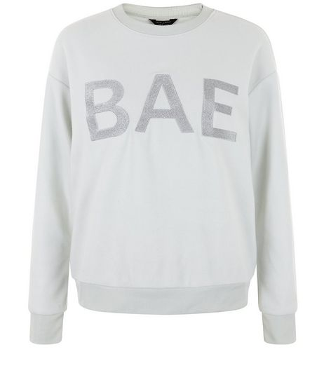 Teens Mint Green Brushed Bae Slogan Sweater | New Look