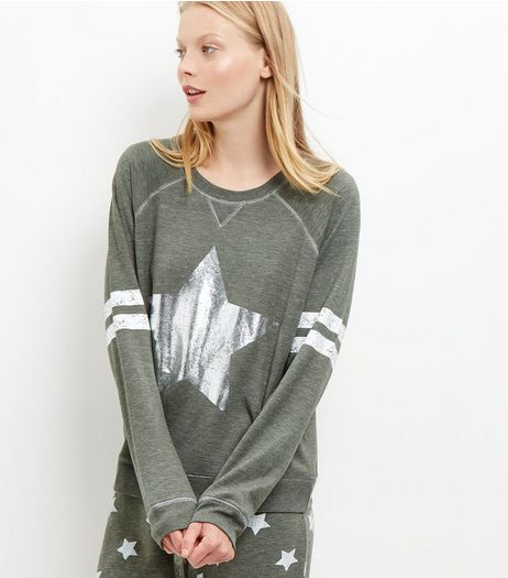 Olive Green Star Print Pyjama Sweater | New Look