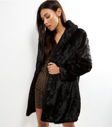 Black Faux Fur Coat  | New Look